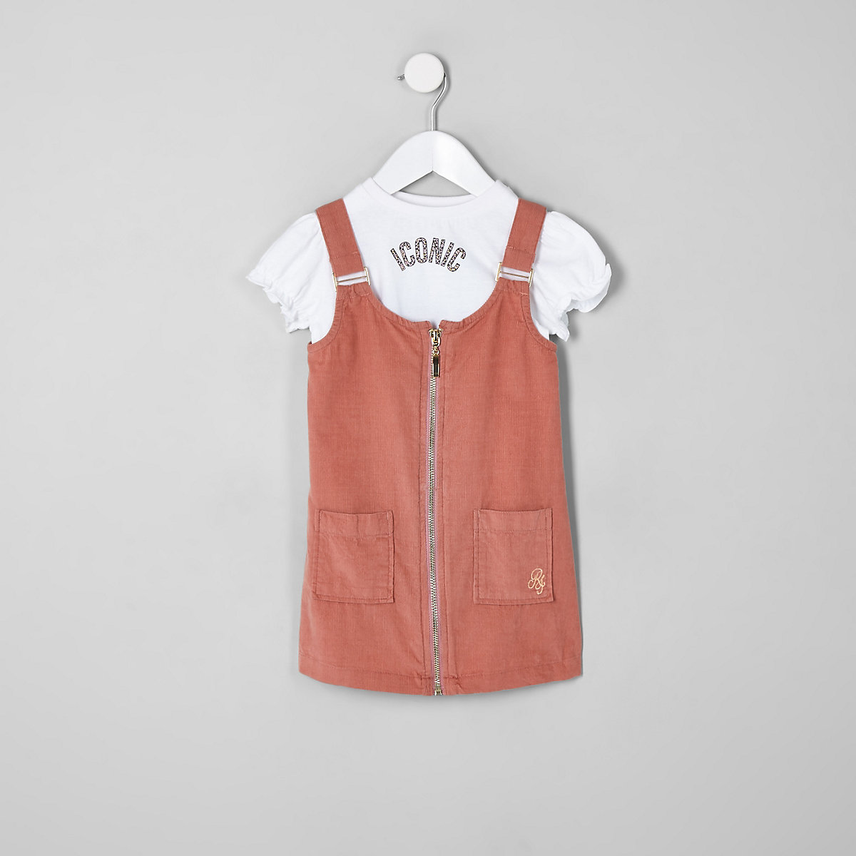 Mini girls pink pinafore outfit