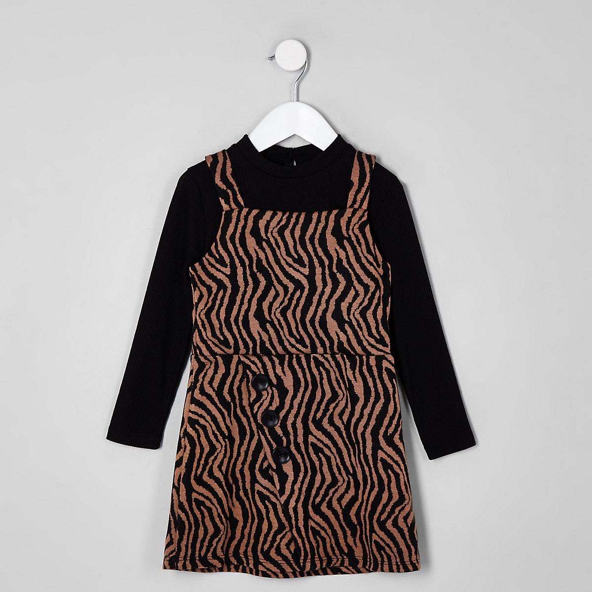 Mini girls black zebra print pinafore outfit