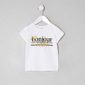 Mini girls white 'Bonjour' T-shirt