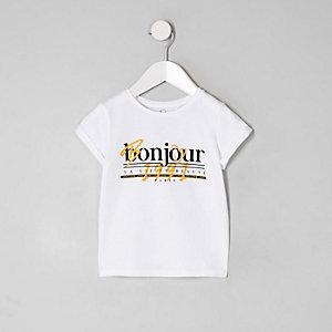 Mini - Wit T-shirt met 'Bonjour'-print voor meisjes