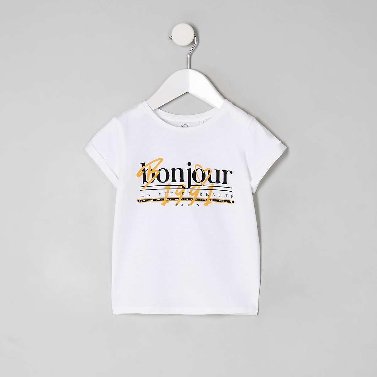 Mini girls white 'Bonjour' T-shirt