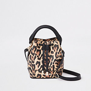 Girls brown leopard print bucket bag