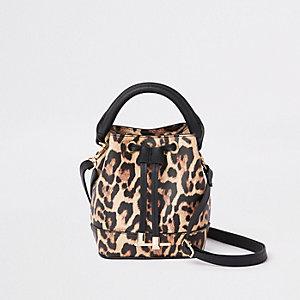 Sac seau imprimé léopard marron pour fille