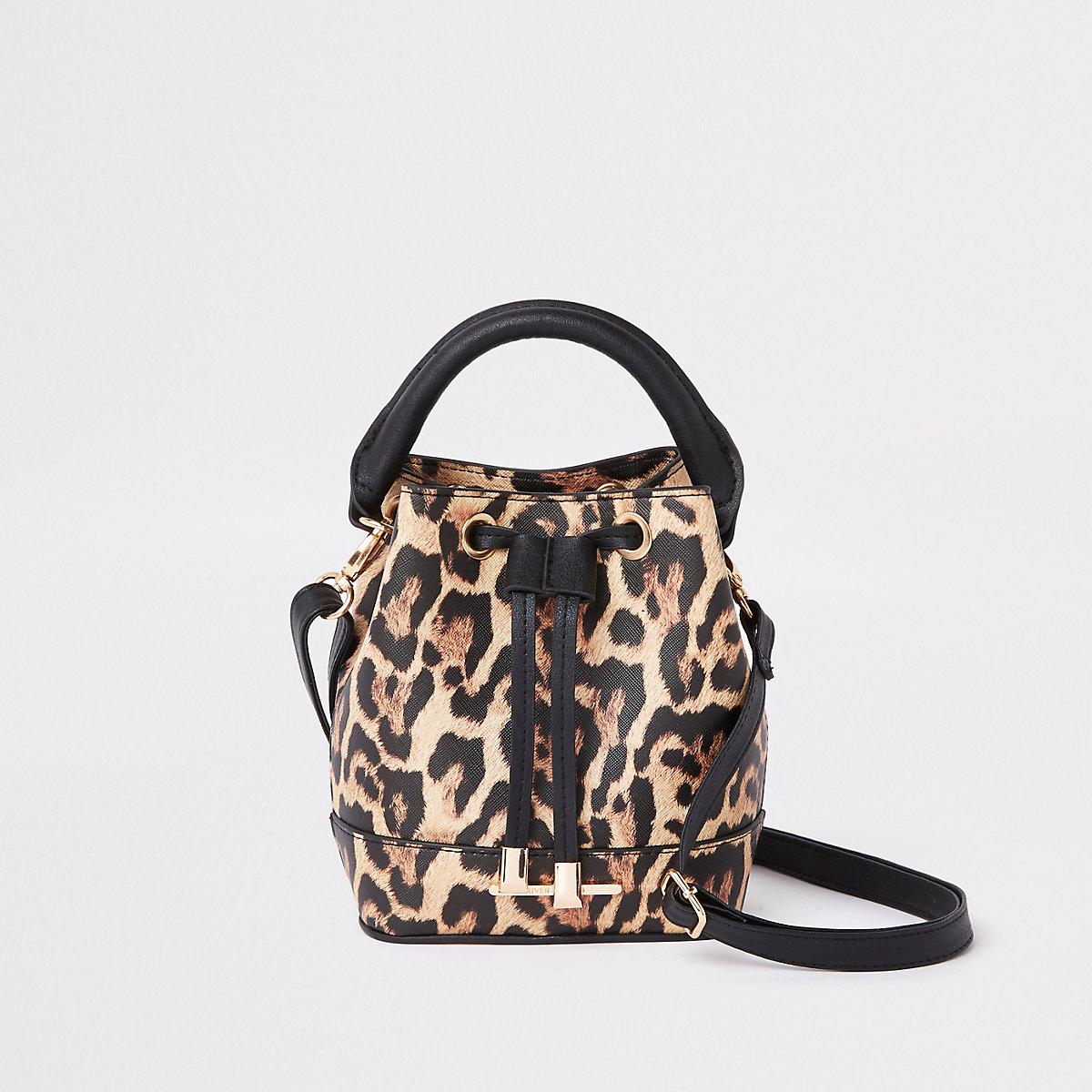 Girls brown leopard print bucket bag
