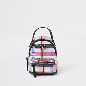 Girls purple check back pack