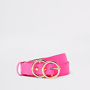 Girls neon pink RI monogram belt