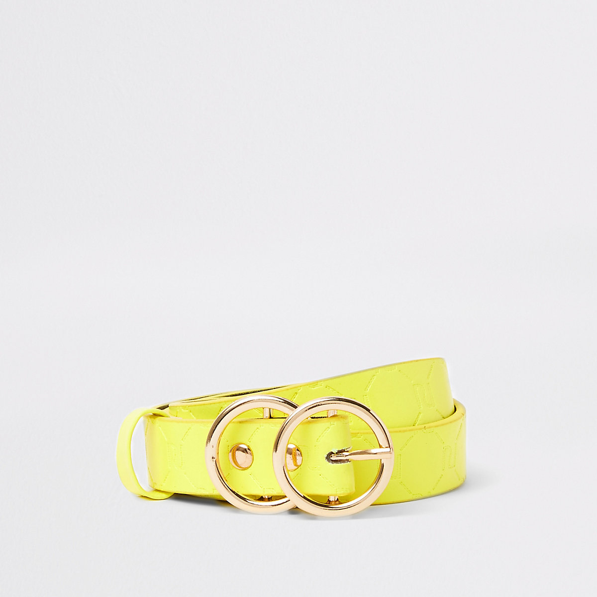 Girls neon yellow RI monogram belt