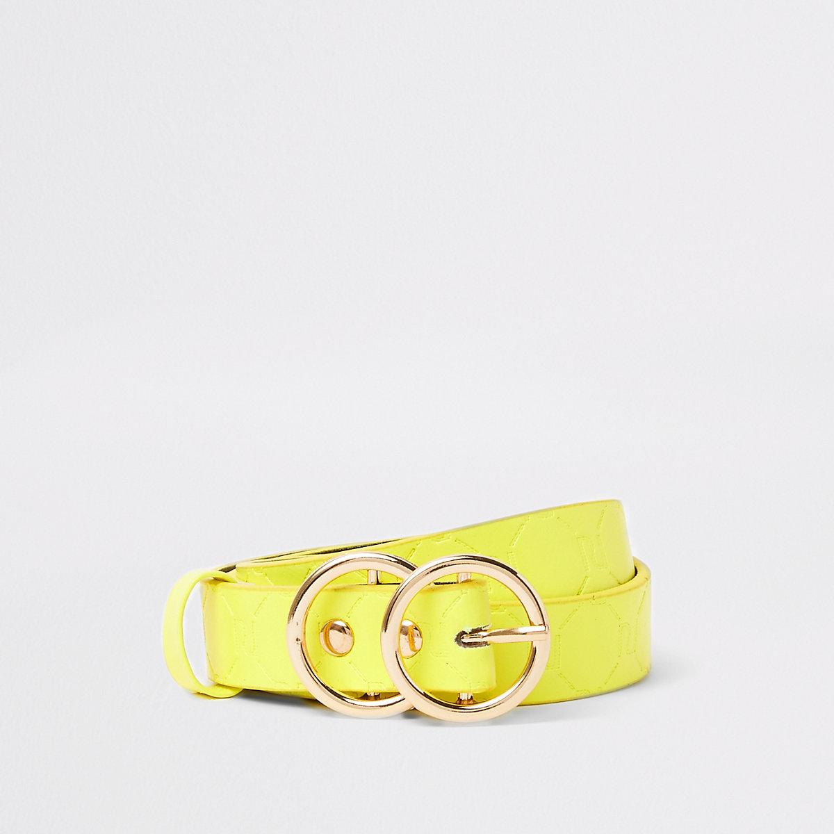 Ceinture à monogramme RI jaune fluo pour fille - Ceintures ... 03cd01ba658