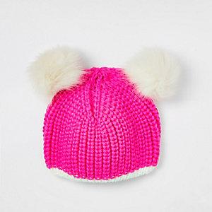 Girls pink double pom pom beanie hat