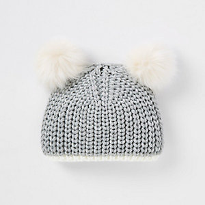 Mini girls grey double pom pom beanie hat