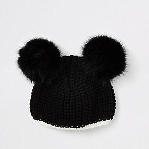Girls black knit pom pom beanie hat