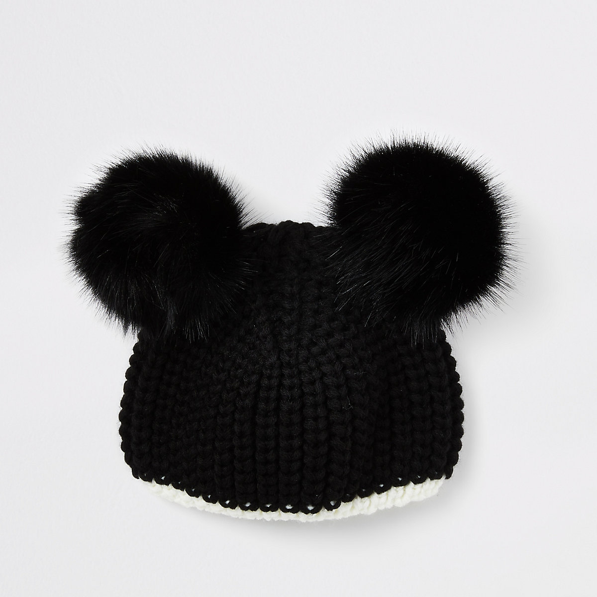 Girls black knit pom pom beanie hat