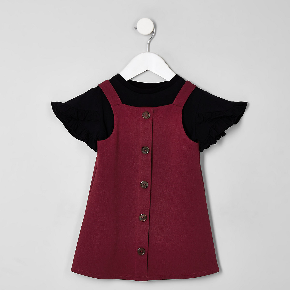 Mini girls burgundy pinafore dress set