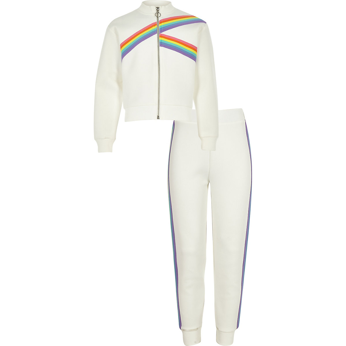 Girls white rainbow tape track outfit