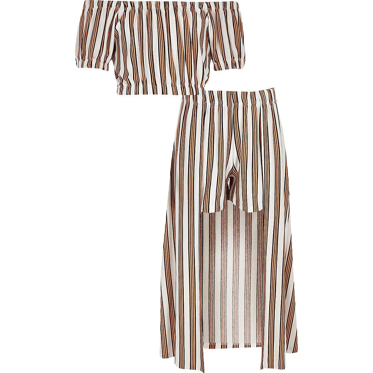 Girls yellow stripe bardot top outfit