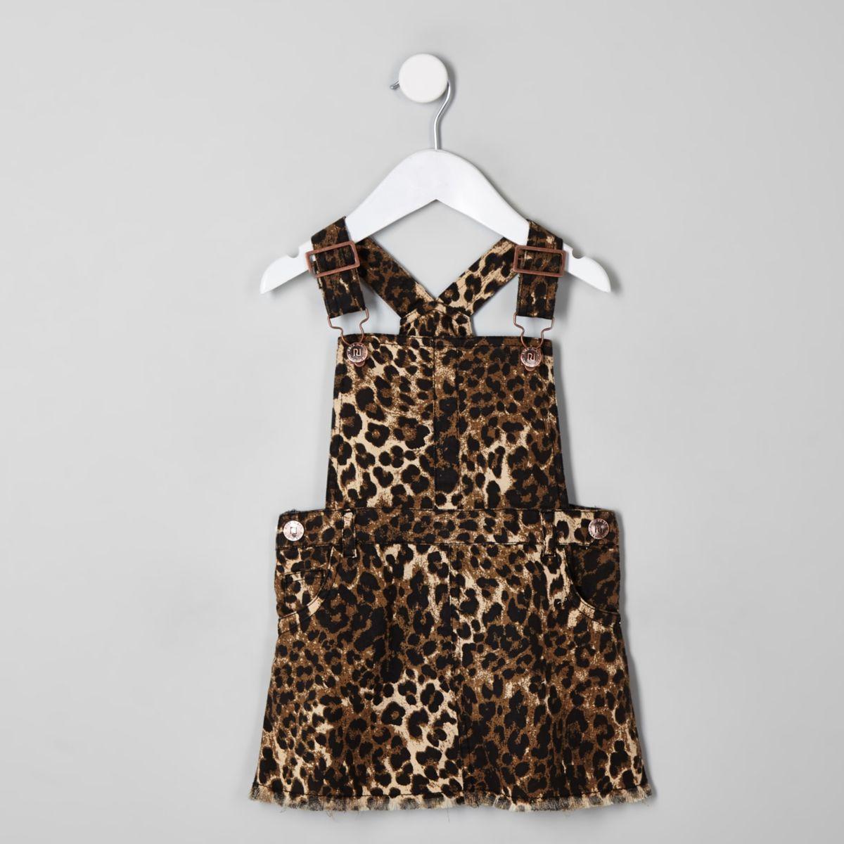Mini girls brown leopard pinafore dress