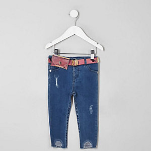Mini girls blue Amelie holographic belt jeans