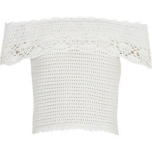 Girls white crochet bardot top