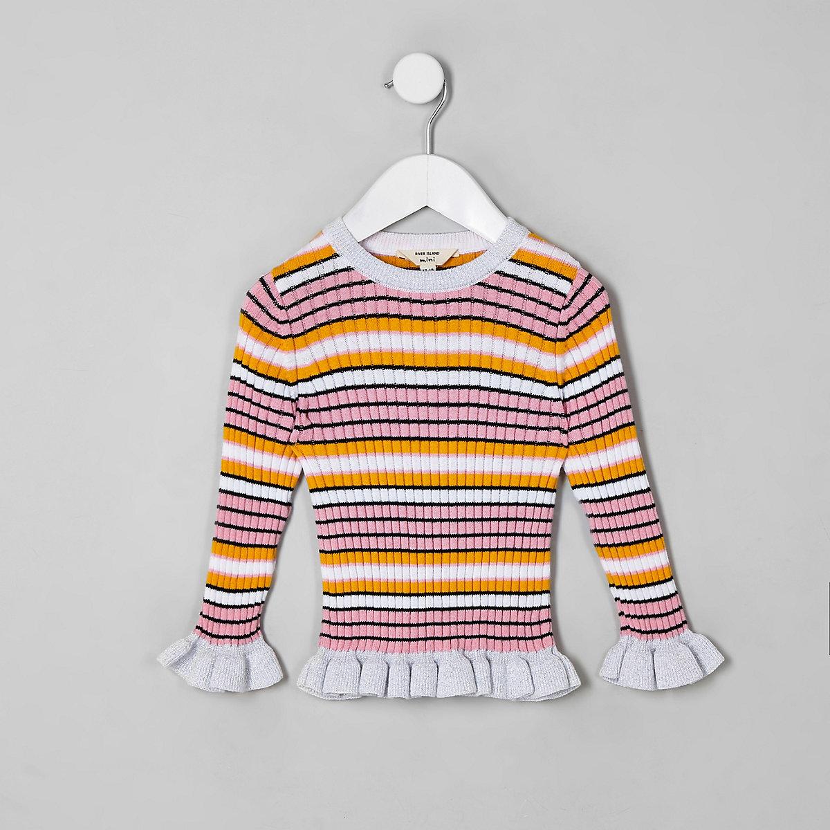Mini girls pink stripe frill sweater