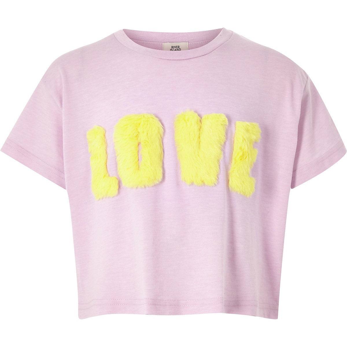 Girls light purple 'love' faux fur T-shirt