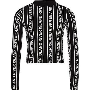 Top à col montant noir avec rayures monochromes à logo RI pour fille