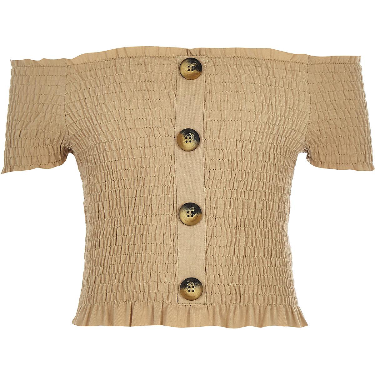 Girls light brown button down bardot top