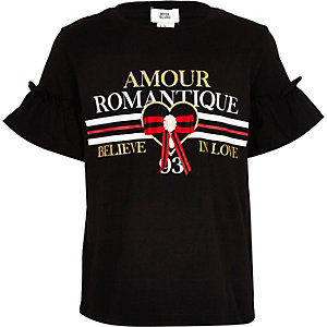Girls black 'Amour' ruffle sleeve T-shirt
