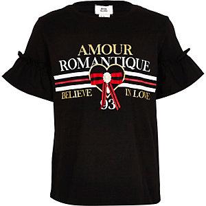 Girls black 'Amour' ruffle sleeve T-shirt