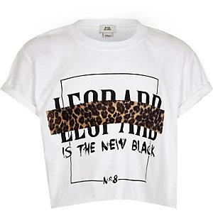 Weißes T-Shirt mit Leoprint