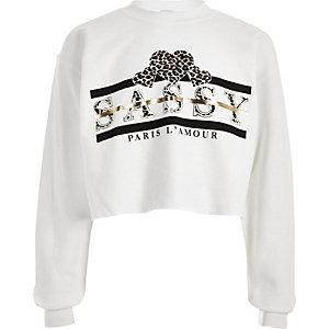 Girls white 'Sassy' leopard print sweatshirt