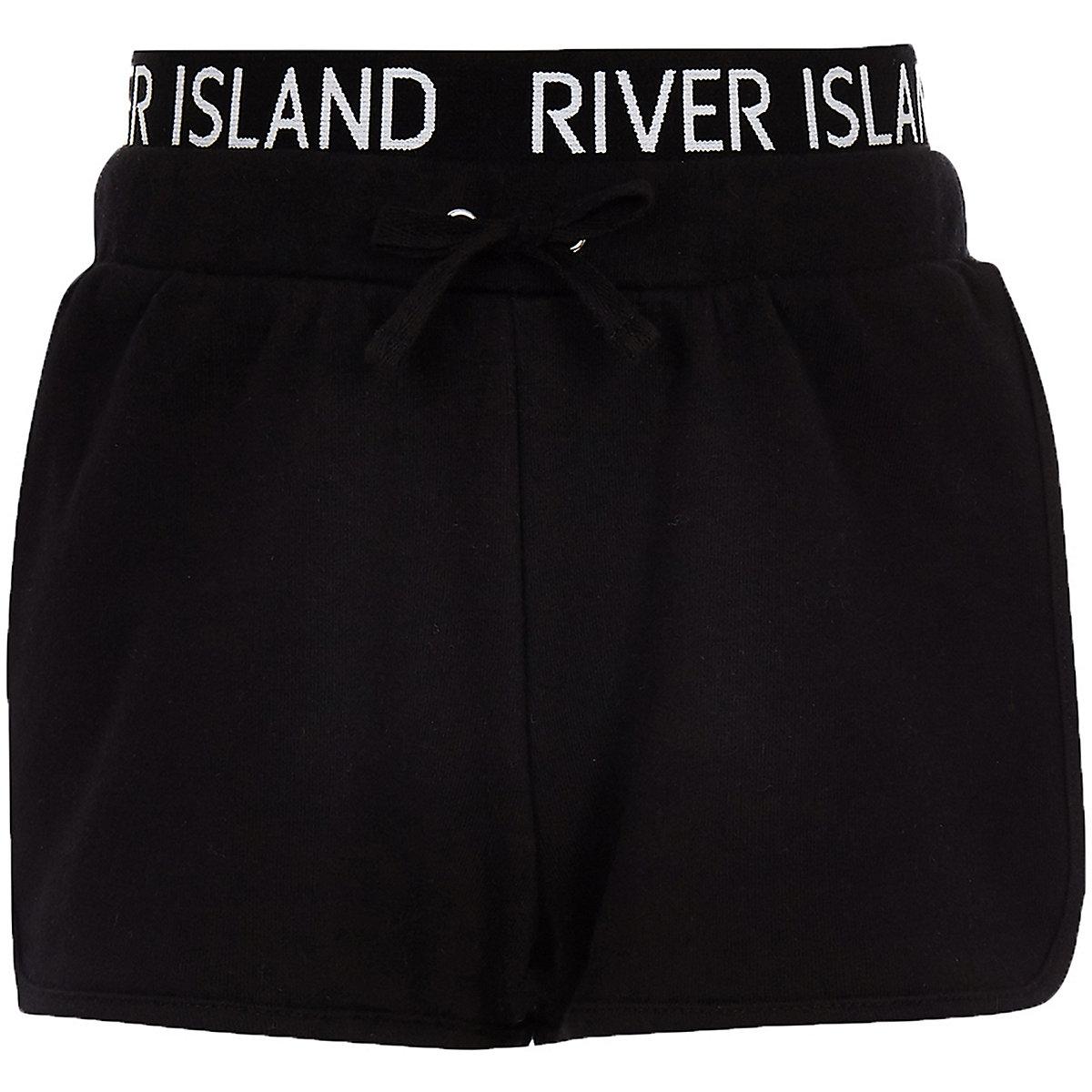 Girls black RI waistband runner shorts