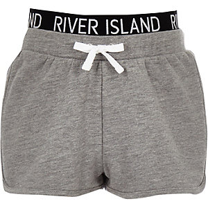 Girls grey RI waistband runner shorts
