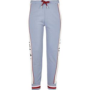 Pantalon de jogging bleu à bande RI pour fille
