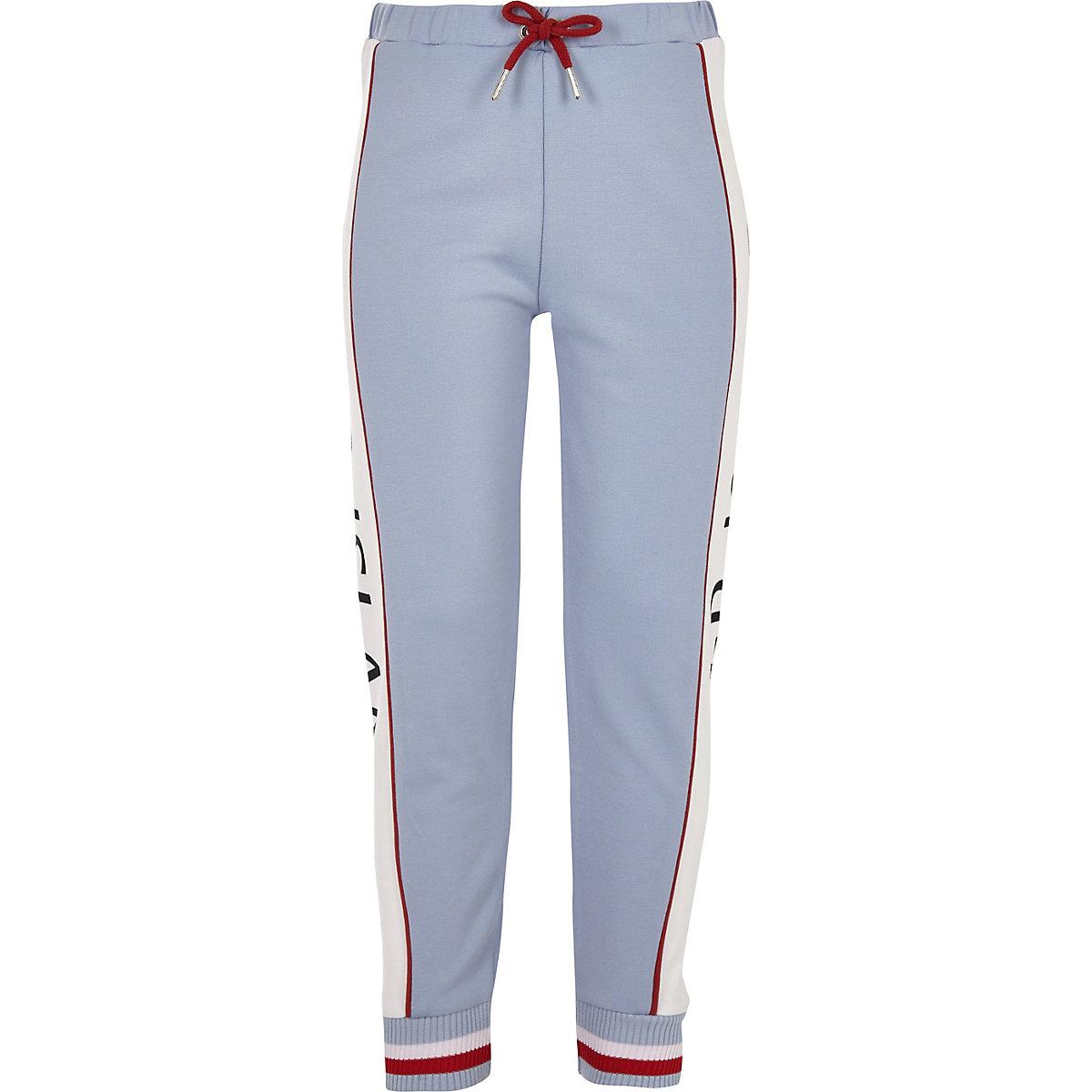 Girls blue RI tape joggers