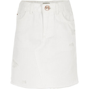 Girls white ripped denim skirt