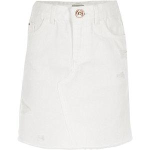 Witte ripped denim rok voor meisjes