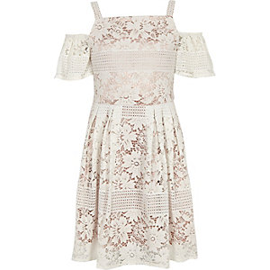 Girls cream lace cold shoulder dress
