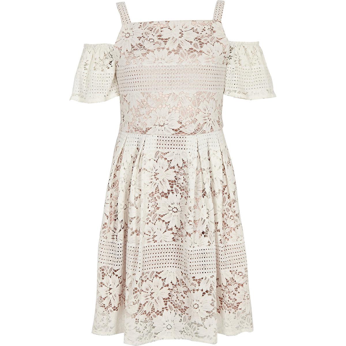 Girls cream lace cold shoulder dress