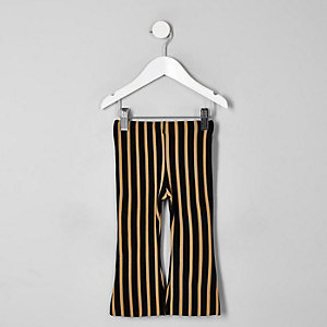 Mini girls beige stripe flare pants