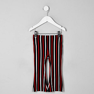 Mini girls red stripe flare trousers