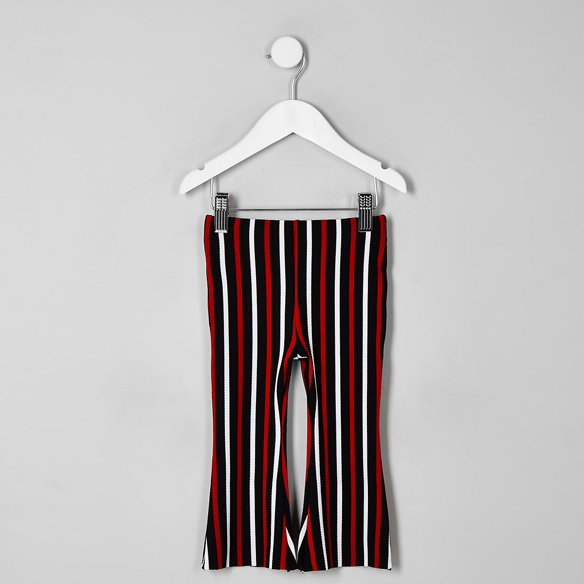 Mini girls red stripe flare pants