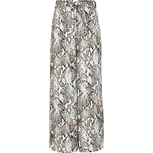 Girls grey snake print wide leg trousers