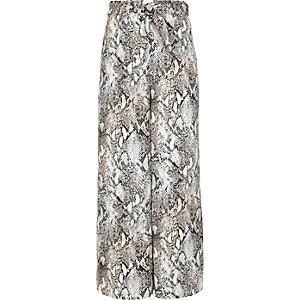 Grijze broek met slangenprint en wijde pijpen voor meisjes