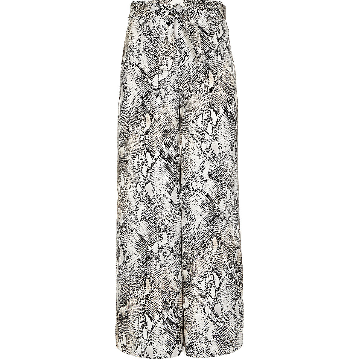 Girls grey snake print wide leg trousers