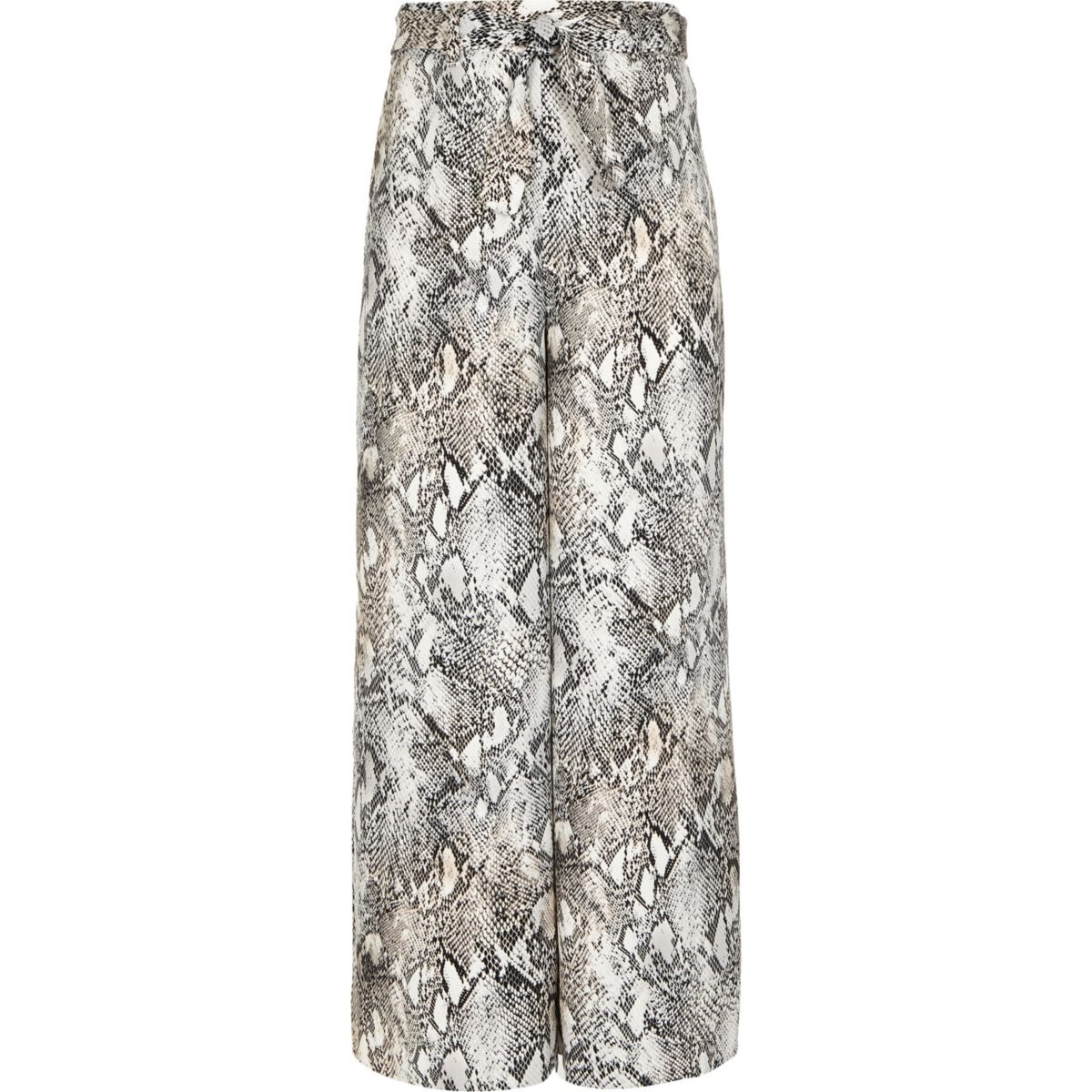 Girls grey snake print wide leg pants
