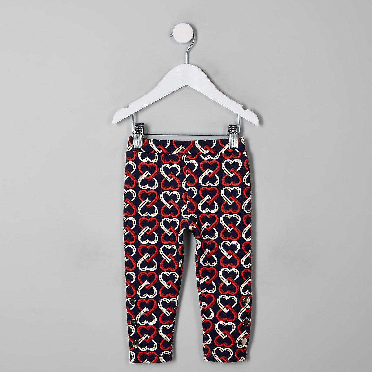 Mini girls navy heart print leggings