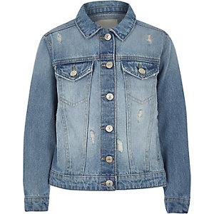 Girls blue distressed denim jacket