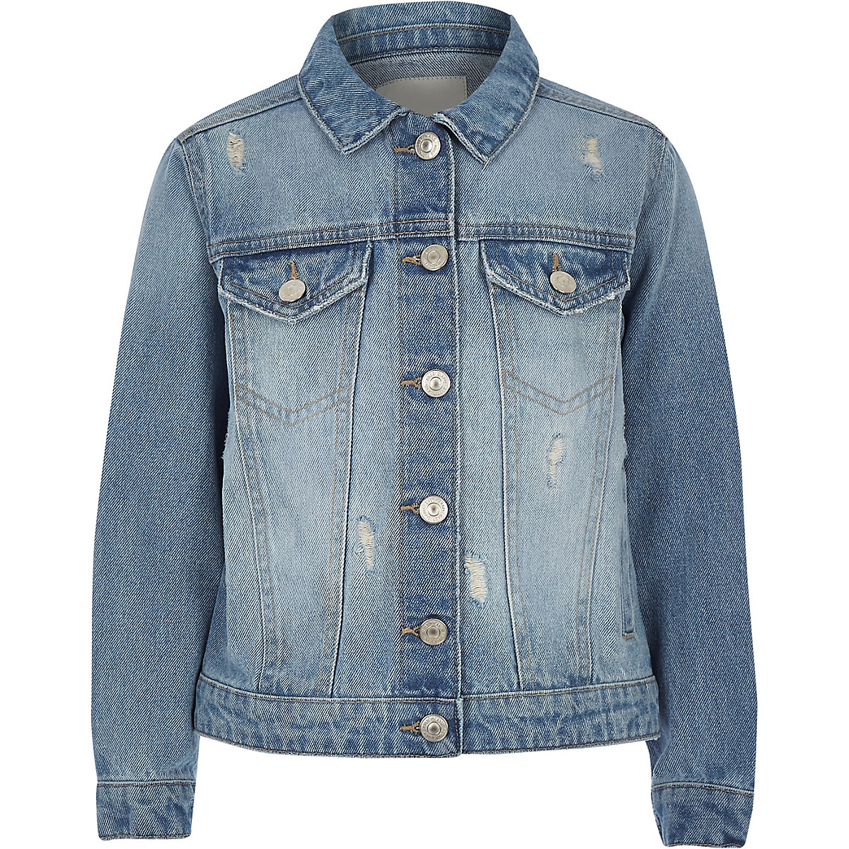 Girls blue distressed denim jacket