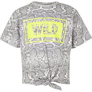 Graues T-Shirt mit Schlangenlederoptik