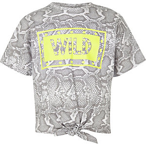 Girls grey snake print tie front T-shirt